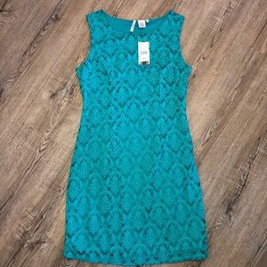 Miss Pinky Teal/Turquis Tank Dance w/ Lace Overlay